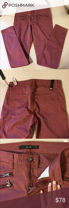 """JOE'S Jeans Vintage Rough Rocker Skinny Fit NWT Joe's Jeans Rocket Skinny Fit jeans in Vintage Rough (burgundy or a clay red). Size 27, inseam measures at 31.5"""". Zipper pocket detail on front. Retails for $179 Joe's Jeans Jeans Skinny"""