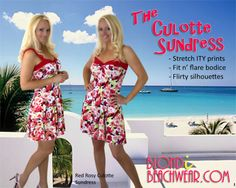 Red Rosy Culotte  A girl doesn't need any excuse to slip into this adorable little sundress. Easy to wear in the softest stretch fabrics that you've ever worn.  This style is perfect to take with you on cruises, wearing it for beach walks and exploring exotic ports because the culotte short doesn't blow up.  FREE SHIPPING TODAY: WWW.BLONDIBEACHWEAR.COM/RED_ROSY_CULOTTE_SUNDRESS_P/DRREDROSYCULOTTE.HTM