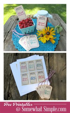 Free Printables: Mason Jar Tags Why not use your mason jar dies to make these tags? Use them for home made jam.
