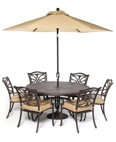 Kingsley Outdoor Cast Aluminum 7 Pc Dining Set 60 Round Dining Table And 6 Dining Chairs