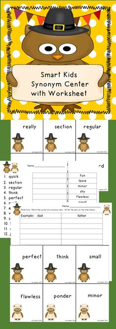 Want your students to learn synonyms other than big/large and small/little? This center is for you. The words included will increase your student's vocabulary and color their writing. Included is a matching game suitable for one to four players with an adorable owl Pilgrim theme. There is a recording sheet and a cut and paste worksheet, as well as directions for use.