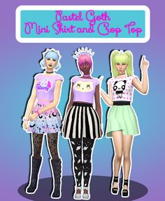 Sims 4 CC's - The Best: Pastel Goth Mini Skirt, Crop Top and Dresses by Te...