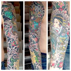 Here's another view of the samurai sleeve posted earlier #henningjorgensen #royaltattoodk #denmark #helsingor #copenhagen #japanesetattoo #japanesetattoos #irezumi #tattoo #tattooing #samurai #geisha...