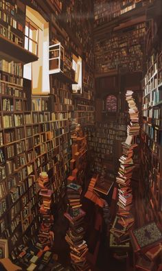 Impressively detailed book paintings by Pierpaolo Rovero (pictures) Theme Harry Potter, Harry Potter Aesthetic, Book Aesthetic, Aesthetic Pictures, Harry Potter Style, Beautiful Library, Dream Library, Library Art, Book Wallpaper