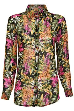 """""""Colorful Leaves"""" Black Shirt. Description Black shirt, featuring colorful leaves print throughout, pointed collar, long sleeves, buttoned cuffs and front, arc hem, loose and opaque styling. Fabric Polyester. Washing 40 degree machine wash , low iron. #Romwe"""