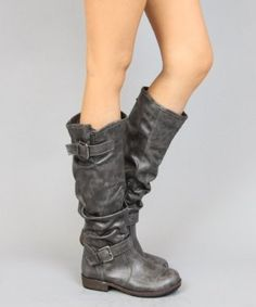 Bamboo Montage-02N Crinkle Leatherette Faux Fur Strappy Mid Calf Round Toe Motorcycle Boots