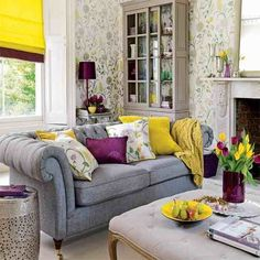 Awesome 33 Colorful And Airy Spring Living Room Designs : White Yellow Flower Airy Spring Living Room Wall Decor With Curtain Pillow And Grey Sofa Cupboard Lamp And Large Windows Design Fresh Living Room, Colourful Living Room, Living Room Accents, Living Room Colors, Living Room Grey, Home And Living, Living Room Designs, Living Room Decor, Living Rooms