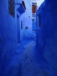 The mountain village of Chaouen in Morocco. Through the Mediterranean the colour blue is used as protection against the Evil Eye. (This village was populated by Jewish settlers long ago.)