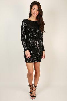 Get Glitzy Sequin Dress in Black