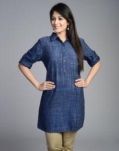 Fabindia.com   Cotton Khadi Bijli Placket Tunic Beautiful Dress Designs, Stylish Dress Designs, Stylish Dresses, Tunic Designs, Kurta Designs, Saree Blouse Designs, Casual Work Attire, Casual Outfits, India Fashion