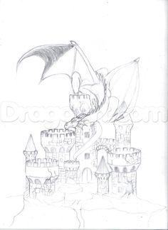Castle Drawing, Castle Painting, Disney Character Drawings, Castle Tattoo, Animal Drawings, Pencil Drawings, Drawing Animals, Dragon Sketch, Fantasy Drawings