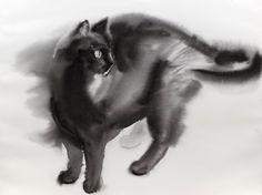 Etsy の Black cat  original watercolor painting by bodorka