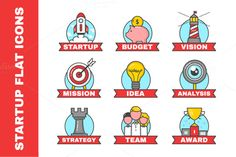 Set of flat line icons for startup  @creativework247