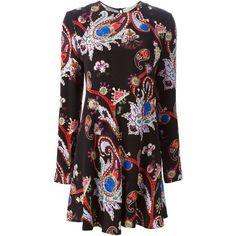Mary Katrantzou MacBay Dress ($2,025) ❤ liked on Polyvore featuring dresses, black, long sleeve dresses, black circle skirt, ruffle dress, black skater skirt and flounce dress