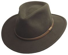Cowboy hats · Men s Crushable Wool Felt Outback Wide Brim Classic Safari  Fedora Hat HE44 OLIVE  Epoch   38826fa8ce14
