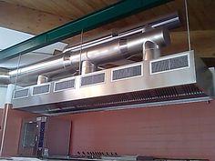Impianto aspirazione aria zona cottura a flussi compensati