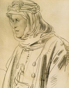 A pencil drawing of T.E. Lawrence by Augustus John in 1919.
