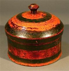 Antique wooden painted spice storage box with natural dyes