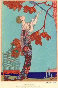 "Georges Barbier illustration, 1914, entitled ""l'Oiseau Volage"" (The Fickle Bird)"""