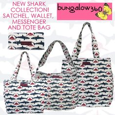 Live every week like it's shark week with these cute shark print bags from Bungalow 360. All canvas, all vegan!