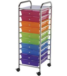 Storage Cart with 10 Drawers-Multi-Color. Homeschool storage for each child. $89.99 USE 40% off coupon.