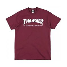 Thrasher Magazine Thrasher Skate Mag T-Shirt Maroon ($20) ❤ liked on Polyvore featuring tops