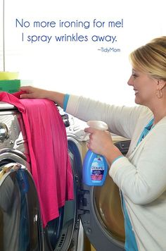 No more ironing! Just spray wrinkles away with Downy Wrinkle Releaser.  Find out more at TidyMom.net #wondermoms