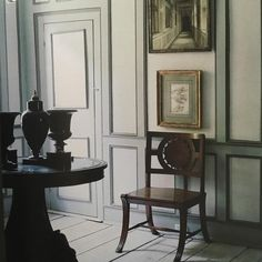 Shades of gray, 19th c. chair, Bill Blass home in CT