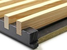 LAUDER LINEA CEILING - pine, clear coat + black counter battens, The linear wooden ceiling system is a highly decorative ceiling system that is created by Wood Slat Wall, Wood Panel Walls, Wood Slats, Wooden Walls, Wood Paneling, Timber Battens, Timber Cladding, Black Counters, Ceiling Design