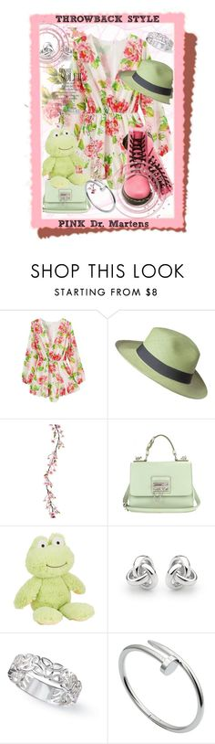 """Throwback style: Pink Dr. Martens"" by afezoftheheart ❤ liked on Polyvore featuring moda, Dr. Martens, Ecua-Andino, Dolce&Gabbana, Georgini, Cartier, Pink, lime, throwbackstyle ve iconicboots"