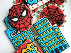 Corset Cookies for a Bachelorette Party Superhero Treats, Superhero Cookies, Superhero Cake, Superhero Birthday Party, Boy Birthday, Cake Spiderman, Spider Men, Cookie Decorating Icing, Cartoon Cookie