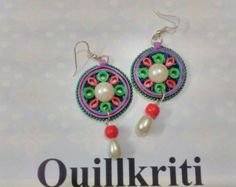 Items similar to Multicolored Paper Quilled earrings from Quillkriti, on Etsy Quilling Earrings, Paper Beads, Paper Quilling, Wire Wrapping, Crochet Earrings, Wraps, Ear Rings, Drop Earrings, Unique Jewelry
