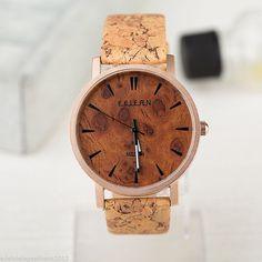 Kork Armband Uhr Herren Armbanduhr Wurzelholz von AnnaleasFinest