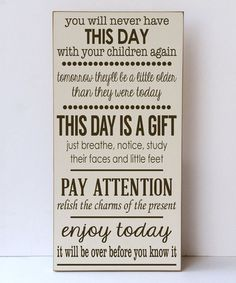 Cream & Brown 'This Day is a Gift' Wall Sign #zulily #zulilyfinds