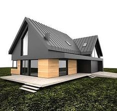 Czarno elewacja - Home Cleaning Routine Modern House Design, Exterior Design, Future House, Modern Architecture, Modern Farmhouse, Building A House, House Plans, New Homes, Villa