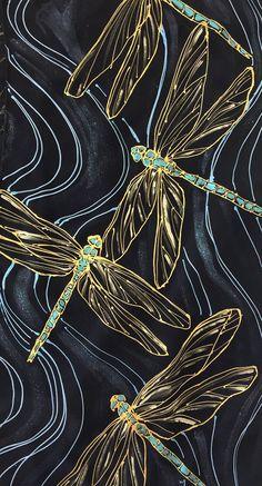 Handpainted Scarf, Black Silk Dragonflies Scarf, Black and Gold, Turquoise Blue and Gold Dragonfly, Takuyo, 14x72 inch, Made to order
