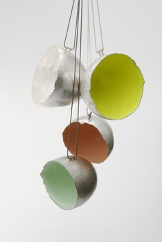 Raewyn Walsh - vessel pendants, (fine silver, resin, silk cord) ongoing series