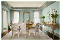 Cool info on Soft Green Paint Colors For Dining Room With White Furniture Sets