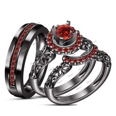 1.14 Ct Red Garnet 14K Black gold FN His/Her Trio Wedding Ring Set in 925 Silver #Affoin8