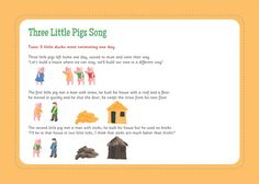 3 little pigs resources 3 , 3 Little Pigs Resources for Kindergarten Teachers, help you to convey your students about 3 little pigs story on a class. Traditional Fairy Tales, Traditional Stories, Preschool Songs, Music Activities, Nursery Activities, Preschool Ideas, Songs For Toddlers, Kids Songs, Three Little Pigs Song