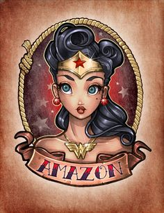 Tim Shumate pin up Wonder Woman tattoo idea.