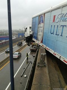 Michelob Ultra Truck Crashes And Dangles Over I-93