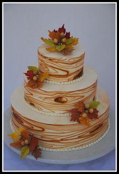 Faux Wood Fall Wedding Cake - Sweet Fix at www.sweetfixrva.com
