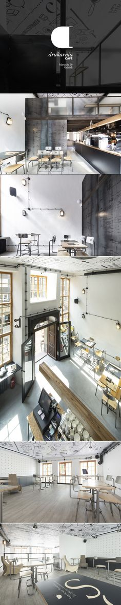 Drukarnia Cafe / Poland / Gdansk / design: Monika i Adam Świerżewscy / www.monu.pl / www.swierszcze.com / photo © Rafał Kołsut  #desing #cafe #interior #interior design #ideas #graphic #graphicdesign