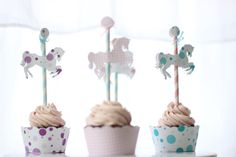MerryGoRound Horse Cupcake Toppers. So great for a kid's birthday party! Get in-depth info on the traits and personality of the Chinese Zodiac Horse http://www.buildingbeautifulsouls.com/zodiac-signs/chinese-zodiac-signs-meanings/year-of-the-horse/