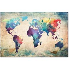 Mapa del mundo en el estilo artístico - esta decoración de la pared con éxito…