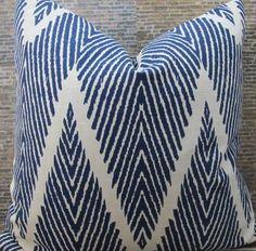 Designer Pillow Cover - Lumbar, 16 x 16, 18 x 18, 20 x 20, 22 x 22 - Bali Chevron Ikat Indigo