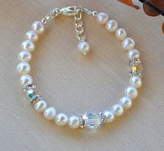 Swarovski Crystal and Fresh Water Pearl Bracelet by HeartofGems