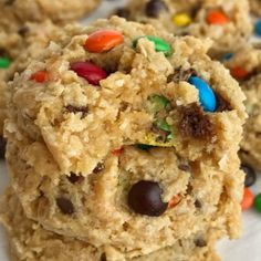 Cake Mix Monster Cookies | Cake mix monster cookies are an easy and fun twist to the classic monster cookie. A yellow cake mix, peanut butter, oats, chocolate chips, and m&m's create a thick, soft-baked, and chewy cake mix monster cookies that are so easy to make