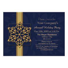 blue Gold Festive Corporate holiday party Invite #christmas #xmas #holidays